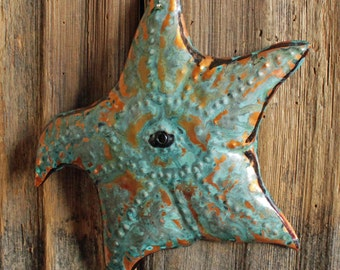 Sea Star Starfish - copper metal sea life art sculpture - wall hanging - with turquoise blue patina - OOAK