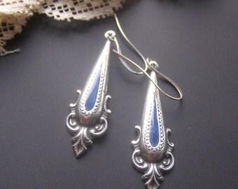 Blue Enamel Earrings, Boho Dangle Earrings, Long Dangle Earrings, Victorian Style Eaerrings, Vintage Style Jewelry