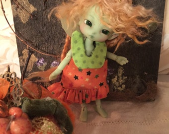 For Fidelia Fuuga Isilmë Pumpkin Orange Stars Witchy Dress