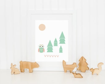 Art Prints for Kids Owl and Trees Art Print 8x10 Office Decor Nursery Art Recycled Paper Wall Owl Wall Art Nursery Decor Nursery Prints