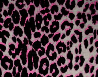 """Remnant Quality Pink Black Grey Cheetah Leopard 2W Stretch Twill Fabric (51x50"""") 1 yard+"""