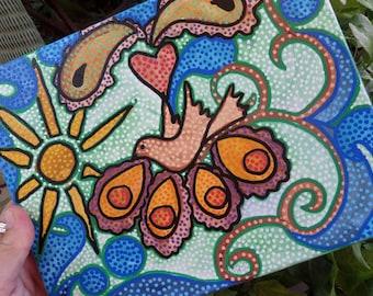 Peace dove, Hippie art, morning art, sunshine painting, dot art, dot painting, singleton art, canvas painting, love dove