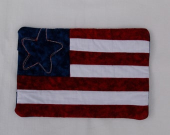 Little Flag Mug Rug Coaster or Mini Quilt 6 Red White Blue