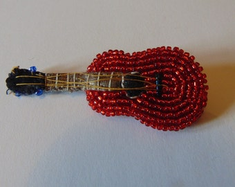 SALE - Bob Wills And His Texas Playboys Guitar -  Embroidered and Beaded Red Felt & Leather Novelty Brooch Pin