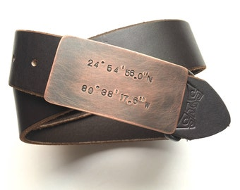 coordinates bronze belt buckle - boyfriend  gift - bronze anniversary - belt buckle for snap belt - fathers day gift - gps -