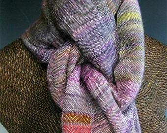 Handwoven Silk and Wool Scarf: Tulipa