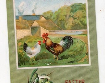 Happy Easter Vintage Postcard, Easter Rooster, Hen, chickens in barn yard vintage postcard, chickens postcard