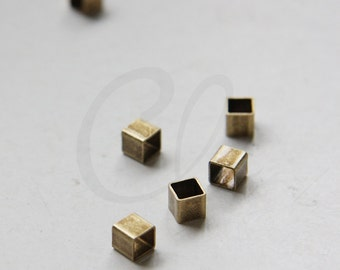 4pcs Antique Brass Square Tube - Spacer - Big Hole 5x5x5m (3067C-M-414)