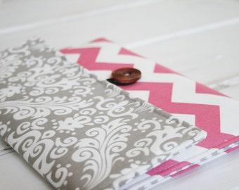 "Macbook Envelope Case, Macbook Cover, Macbook Sleeve, Laptop Case, Laptop Sleeve, 15""  Macbook Case in Pink Chevron and Grey Damask"