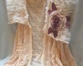 MidWinter Sale 20% Off VEST Romantic Altered Clothing Boho Fastasy Crochet Glam Girl Long Tunic Vest - Ivory
