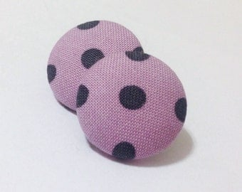 Purple and Black Polka Dot Fabric Button Earrings