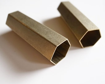 2 pieces of raw brass hexagon tube 15 x17.5 x 50 mm wall thickness 0.5mm