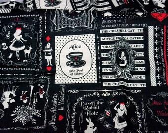 PRECUT Fabric Japanese cotton linen Fairy tales print Alice In Wonderland Half meter (N122)