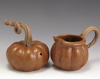 Pumpkin Cream and Sugar set, hand-thrown, stoneware, pottery, John Bauman