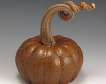 Pumpkin, ceramic, Handmade, Pottery, Stoneware, John Bauman, gourd