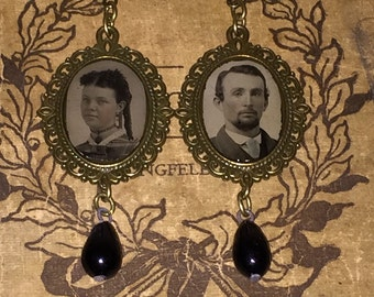 Antique Victorian Gem Tintype Photo Earrings with Edwardian  Era Black Glass Drops Oddities