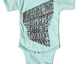 Brooklyn Baby Onesie in Mint Green, for Boys and Girls