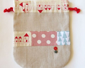 Linen kinchaku pouch -  red roof house