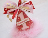 NEW Red, Gold, and Pink Heart Birthday Party Hat - Valentine's Day, Glam Hearts, gold hearts, gold glitter party