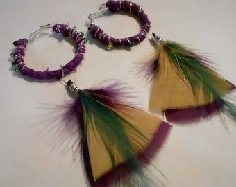 Amazon earrings, tribal, boho, feathers and silk, statement