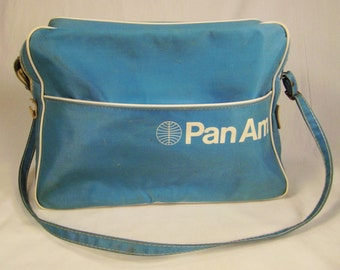PAN AM FLIGHT  Bag Blue shoulder stap never used  1950s As Found 14X 11 x 5 1/2 x 10 1/2in