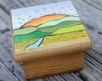 Wood Burned Box - Trinket Box - Jewelry Box - Wooden Box - Pyrography - Small wood Box - Wooden Box - Woodburned Box