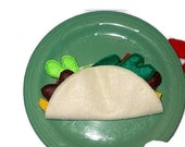 Felt play food - pretend food - play kitchen food -  Felt Bean Or Meat Taco #PF2551