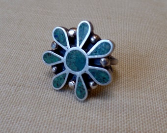 Sterling 925 Silver Size 5 Southwest Style Ladies Ring  Made in Mexico