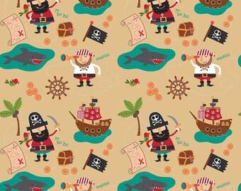 Riley Blake ~ Blackbeard's Pirates fabric ~  Main Print on Gold ~ by the yard