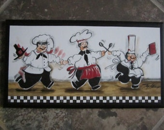 Chefs Kitchen Wall Decor Plaque, Handcrafted French Chef Picture
