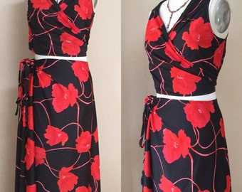 Vintage Lounge Wrap Skirt/Top. Bathing Suit Cover Up. beach Dress, boho