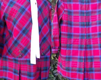 Vintage Girls Dress,Children's Plaid ,Mod Day Dress