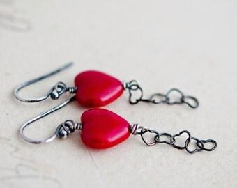 Heart Earrings, Wire Wrapped, Dangle Earrings, Red Heart, Valentine Earrings, Heart Chain, Sterling Silver, PoleStar, Heart Jewelry