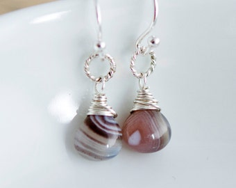 Botswana Agate, Agate Earrings, Agate Jewelry, Wire Wrapped, Drop Earrings, Dangle Earrings, Sterling Silver, Peach, Earthy, PoleStar