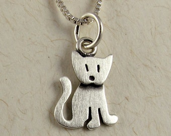 Tiny sitting kitten necklace / pendant