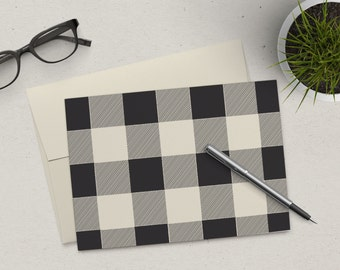 Clearance | Stationery Set | Folded Notes | Buffalo Plaid