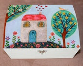 Folk Collage House Large Jewelry Box