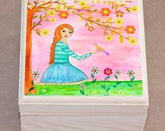 Jewelry Box, Girl Jewelry Box , Girl with Bird Wooden Trinket Box, Pretty Wooden Gift Box
