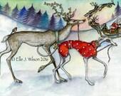 Greyhound Art Dog Print Christmas