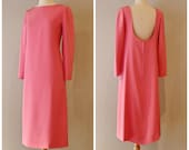 Vintage 1960s Norman Norell Dress ~ Vintage 60s Norell Hot Pink Silk Cocktail Dress