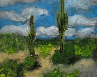 SAGUARO NATIONAL PARK Arizona Abstract Landscape-   Abstract Giclee print from my original oil painting -  Art