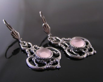 Chandelier Earrings with Ornate Silver and Pink Cabochon, Romantic Jewelry, Romantic Gifts, Wedding Jewelry, Pink Earrings, Victorian Style