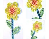 Mosaic Flower Wall Art, Yellow Green Mosaic Flower, Flower Art Plaque, Handmade Mosaic Flower Art, Mixed Media Mosaic Flower Wall Decor