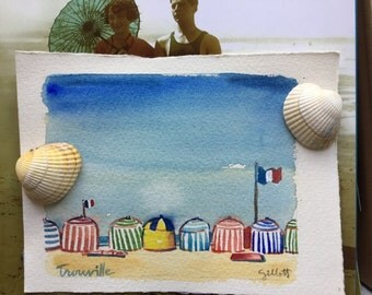 Original watercolor of Cabanas on the beach at Trouville #1