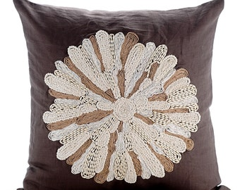 Brown Decorative Throw Pillow Covers Couch Toss Pillow 16x16 Inches Brown Linen Jute Cord & Bead Embroidered Pillow Cover Mother Nature