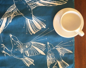Fly Away Sparrows Hand Printed Linen Table Runner