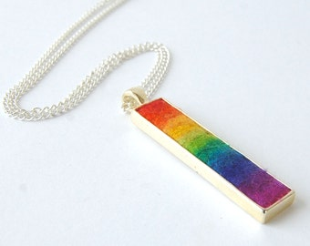 Rainbow Spectrum Rectangle Pendant Necklace- Shades of rainbow captured in a piece of wearable felt art. Felt Pendant. Rainbow Necklace.