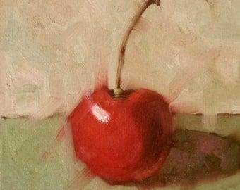 "Small Original Oil Painting,Red Cherry, 8 x 8"", Unframed, Wall Art, Kitchen Art"