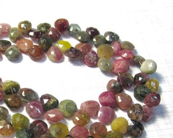OUT Of Town SALE Natural Pink Green Tourmaline Briolette Beads, 6.5mm 7mm