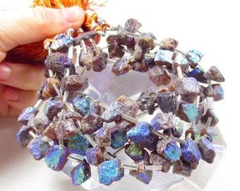25% Off SALE Mystic Mandarin Garnet Raw Nugget Briolette  Beads, Aqua Aura Colorful rainbow Gemstones